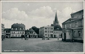 Postcard Schwerin an der Warthe Skwierzyna Marktplatz - Geschäfte 1928