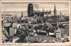 Postcard Danzig Gdańsk/Gduńsk Künstlerkarte Stadt 1930