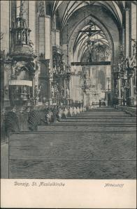 Postcard Danzig Gdańsk/Gduńsk NIcolaikirche Mittelschiff 1906