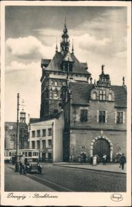 Danzig Gdańsk/Gduńsk Straßenpartie Stockturm Straßenbahn 1934