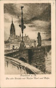 Sachsenhausen-Frankfurt  Main Alte Brücke, Kaiser Karl Hahn Federzeichnung 1922
