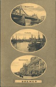 Ansichtskarte Bremen 3 Bild Weserbrücke Bahnhofplatz Freihafen 1915