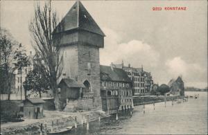 Ansichtskarte Konstanz Turm und Ufer 1909