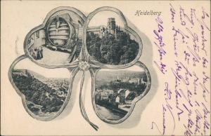 Ansichtskarte Heidelberg Kleeblatt: Schloß Stadt Riesenfass 1904