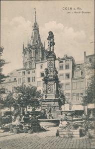 Ansichtskarte Köln Jan v. Werth - Brunnen, Markttreiben 1908