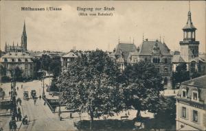 CPA Mülhausen Mulhouse Eingang zur Stadt - Bahnhof 1909