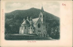 Ansichtskarte Bad Ems Partie an der Evang. Kirche 1900 Prägekarte