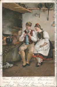 Stricken Strickunterricht Kunst Künstler Lud. Blume-Siebert 1899