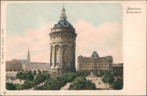 Ansichtskarte Mannheim Wasserturm Häuser Partie am Wasserthurm 1900