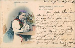 Schwaben Schwäbische Tracht Volksleben Frau nachdenklich 1900/0000