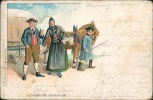 Schwaben Schwäbische Volkstracht Tracht Trachten Typen 1899