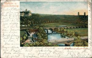 Litho AK Saaleck-Bad Kösen Rudelsburg Saalecksburg Eisenbahn-Brücke 1904