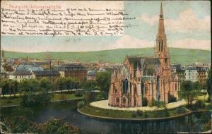 Stuttgart Johanneskirche Stadt Teilansicht in color 1906 Prägekarte