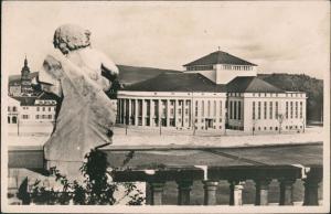 Ansichtskarte Saarbrücken Theater Partie Gebäude & Skulptur-Ansicht 1930