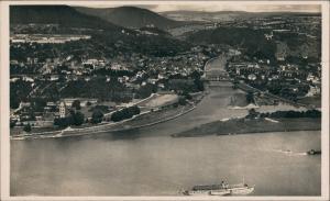 Niederlahnstein-Lahnstein Panorama-Ansicht Fluss Lahn Mündung  1930