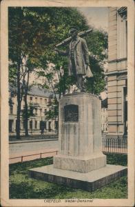 Ansichtskarte Krefeld Crefeld Straßenpartie - Weber Denkmal 1922