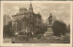 Ansichtskarte Düren Am Bismarck Denkmal Stadthaus 1919