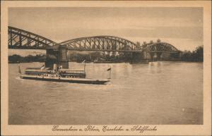 Ansichtskarte Germersheim Eisenbahnbrücke - Rheindampfer 1919