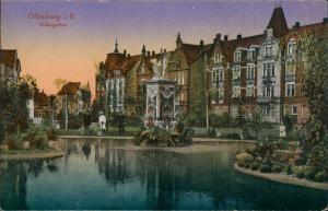 Ansichtskarte Offenburg Häuserzeile Volksgarten 1923