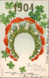 Ansichtskarte  Neujahr - Jugendstil Kleeblätter Fliegenpilze 1904 Prägekarte