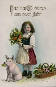 Neujahr/Sylvester Mädchen Mistel und Glücksschwein 1911 Goldrand