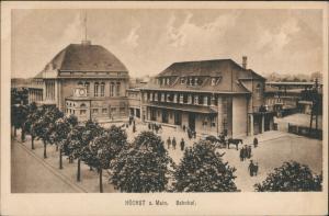 Ansichtskarte Höchst-Frankfurt am Main Bahnhof - Vorplatz 1922