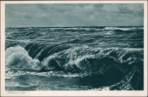 Postcard Ostpreußen (allgemein) Die Ostsee bei Sturm Ostpreußen 1928