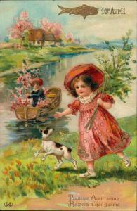 Künstlerkarte 1. April Scherzkarte Mädchen mit Hund 1910 Goldrand