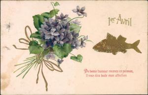 Ansichtskarte  1. April Scherzkarte Fisch & Blumen Motiv 1908 Goldrand
