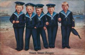 Ansichtskarte  Menschen Soziales Leben Marine Kinder als Matrosen 1910
