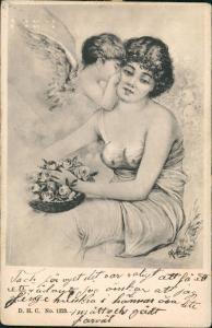 Künstlerkarte Frau lasziv, Kind als Engel küssend 1902