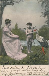 Ansichtskarte  Fotokunst & Fotomontage Frau Kind Junge & Storch 1905