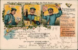 Litho AK Nachrichten Postwesen Porto-Ermässigung Briefträger 1907
