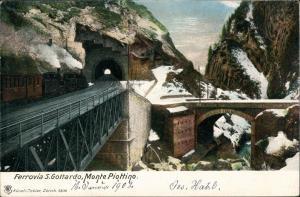 .Schweiz Tunnel Einfahrt Monte Piottino Gotthardbahn Ferrovia del Gottardo 1905