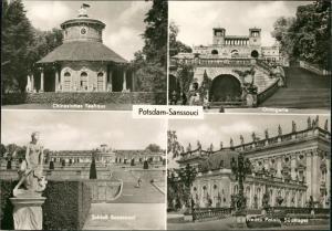 Ansichtskarte Potsdam Sanssouci DDR Mehrbild-AK 4 Foto-Ansichten 1970