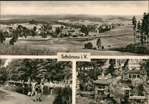 Schönau i. V.-Falkenstein (Vogtland) Gesamtansicht, Naturbad, Zwergen-Garten, DDR-AK 1970