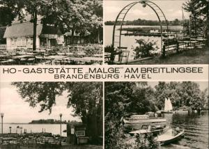 Brandenburg  Havel HO Gaststätte MALGE am Breitlingsee DDR Mehrbild-AK 1974