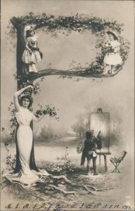 Ansichtskarte  Fotokunst Fotomontage Maler mit Kinder auf Baum 1903