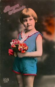 Glückwunsch Neujahr Sylvester Bonne Annee Kind mit Blumen 1910