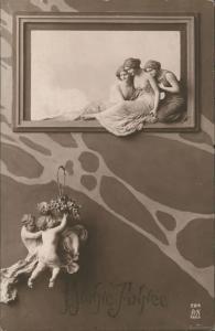 Glückwunsch Neujahr Sylvester BONNE ANNEE Künstler-Darstellung 1919