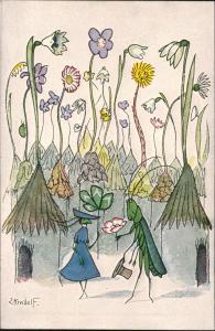 Ansichtskarte  Maler Ernst Kreidolf, Der Gratulant, Künstlerkarte 1920