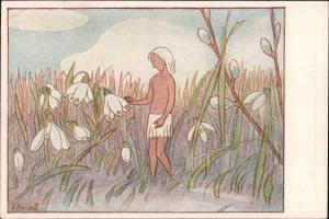 Ansichtskarte  Ernst Kreidolf, Maiglöckchengruß, Kunstwart Bildkarte 1920
