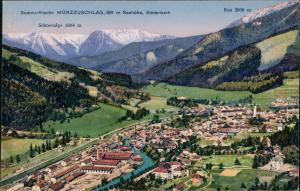 Mürzsteg-Mürzzuschlag Sommerfrische, Panorama Totalansicht mit Alpen Blick 1918