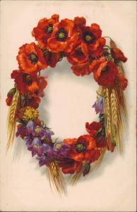 Künstlerkarte Fauna & Pflanzen Blumen- / Ehrenkranz 1918  Stempel 29.08.1918