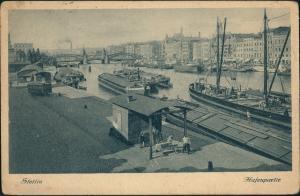 Postcard Stettin Szczecin Hafen Partie Schiffe, Frachtschiffe 1927