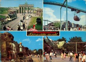 Brühl Phantasialand Mehrbild-AK 4 Ansichten Gondelbahn 1001 Nacht 1975