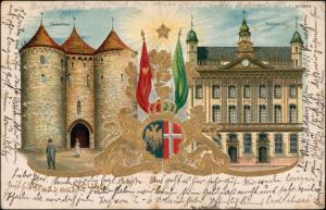 Ansichtskarte Neuss Heraldik Prägekarte Oberthor 2 Bild 1914 Goldrand