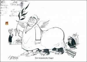 Ansichtskarte  Walter Hanel Karikaturist Karikatur Der trojanische Engel 2000