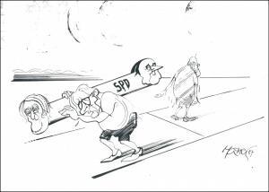 Ansichtskarte  Walter Hanel Karikaturist Karikatur SPD Politik Motivkarte 2000