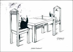 Abrüstungs-Dialog, Politik Karikatur v. Walter Hanel Karikaturist 2000